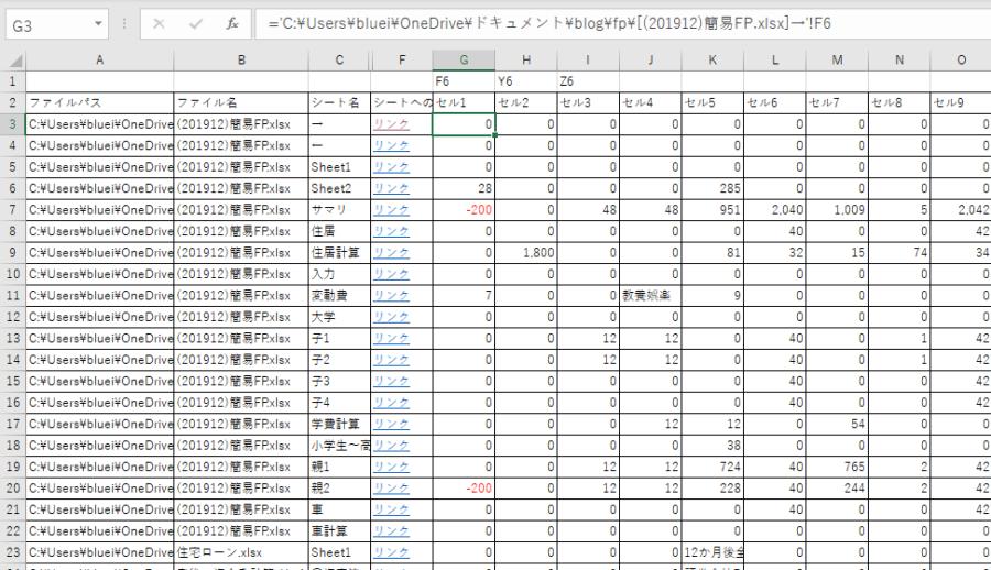 フォルダ内の全ファイル全シートの情報を抜き出す。